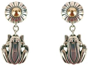 Barry Kieselstein Frog Sterling & 14k Gold Earrings