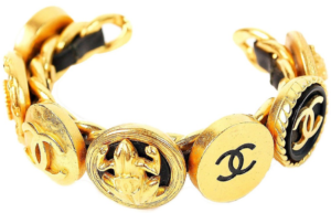 Chanel Vintage Interwoven Gold Chain Black Leather Icon Cuff Bracelet