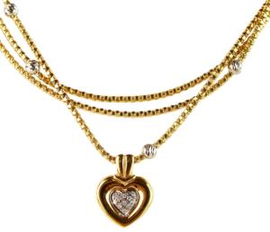 Italian 14k Gold & Diamond Multi Chain Heart Pendant Necklace