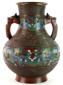 """Japanese Champleve """"HU"""" Vase 1880 -1990"""