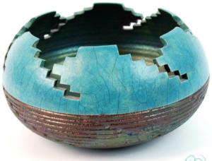 Rare Raku Kiva Ceramic Bowl By Andi Smith