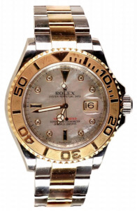 Rolex Two Tone YachtMaster with Serti Diamonds & Mother Of Pearl Dial Men's Watch