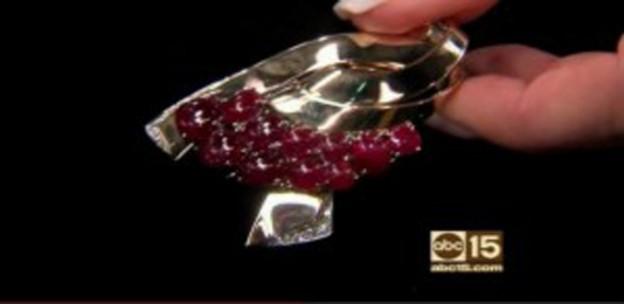 Cabochon Rubies Pin