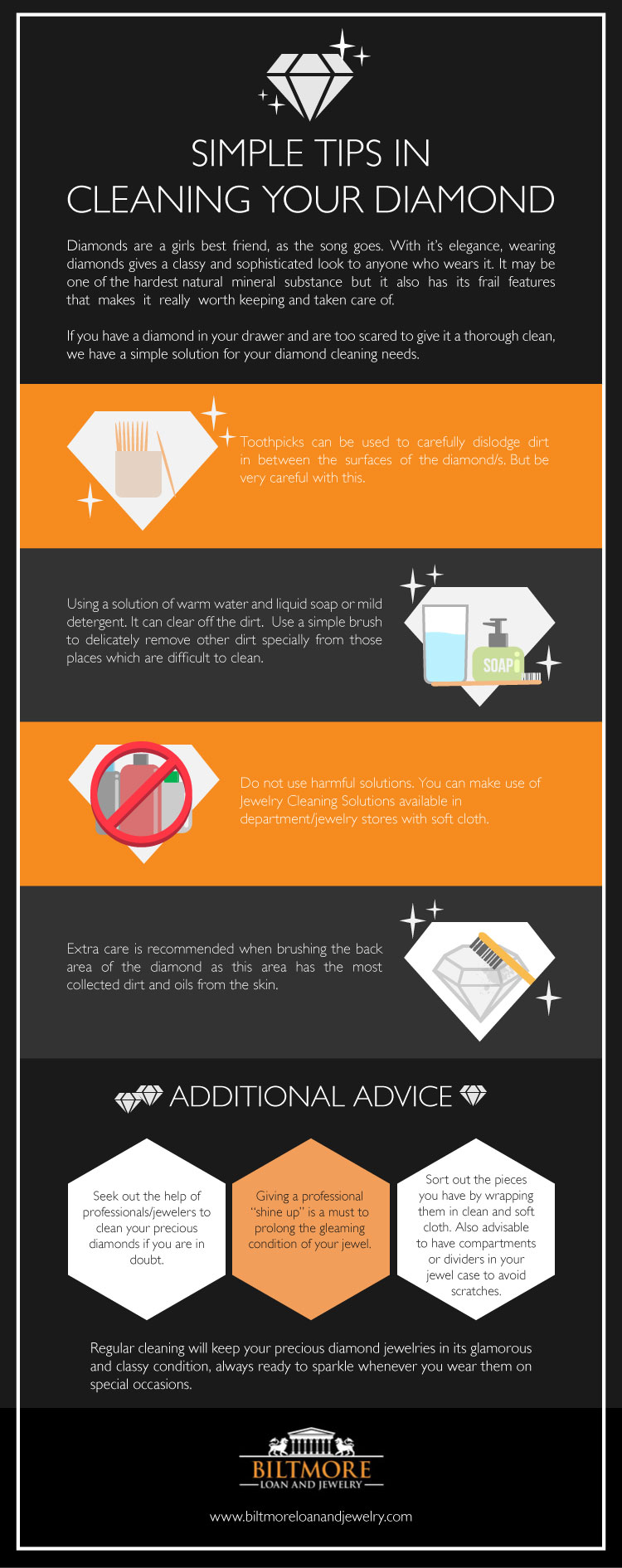 Simple Tips in Cleaning Your Diamond - Infographic