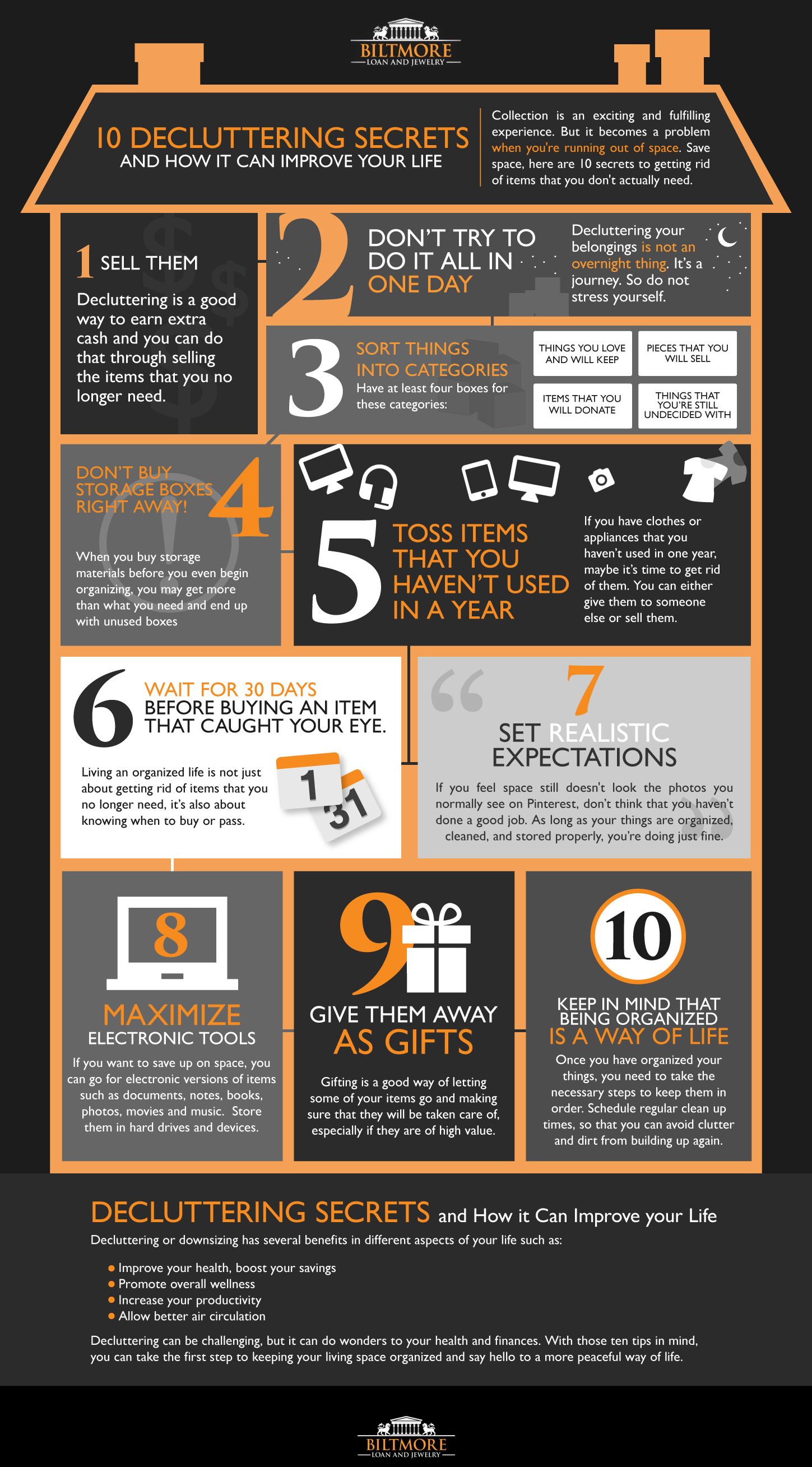 10 Decluttering Secrets and How it Can Improve your Life Infographics