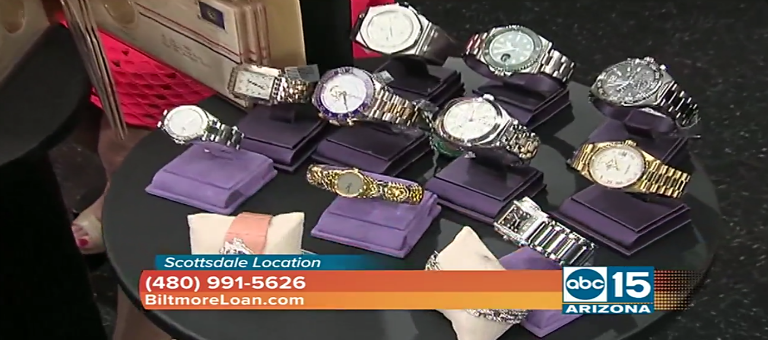 Biltmore Loan in ABC15 Arizona showing collection of high-end watches