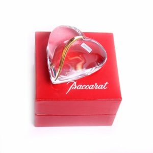 Baccarat Clear Crystal and Gold Heart