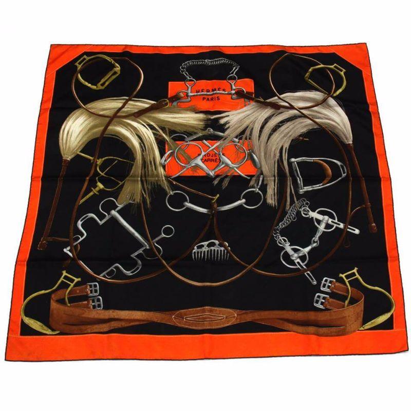 Hermes Projets Carres Silk Scarf Orange & Black Color
