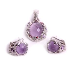 Judith Ripka Sterling Cabachon Amethyst Charm and Earring Set