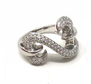 Jane Seymour Open Hearts Ring Diamonds Platinum