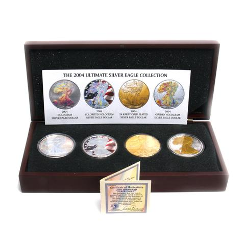 4 Coins 2004 Ultimate Silver Eagle Dollar Collection Plus one 24K Gold Plated