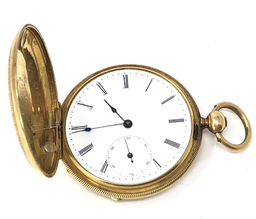 Arnold Nicoud 18K Gold Men's Key Wind Hunter Case Pocket Watch