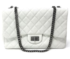 Chanel White Caviar 2.55 Reissue 227 Jumbo Single Flap Bag