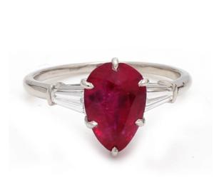 cartier burmese red ruby diamond ring