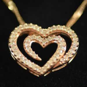 14kt Rose Gold and Diamond Heart Pendant Necklace