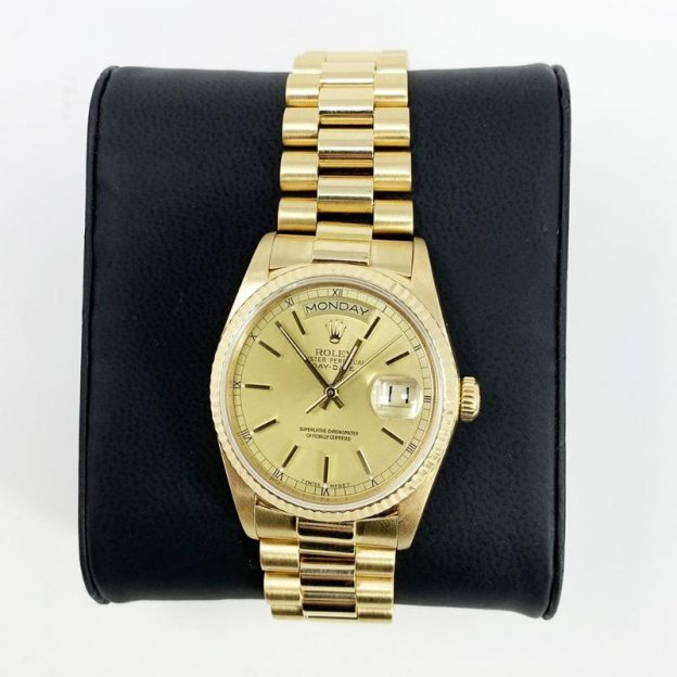 ROLEX Day-Date Champagne Dial 18K Yellow Gold President Automatic Men's Watch CDP