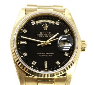 ROLEX Presidential Oyster Perpetual Black Dial Day Date 18K Yellow Gold Mens Watch