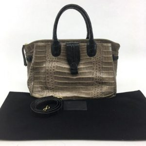 Nancy Gonzalez Cristina Croc Handbag Satchel in Brown and Black