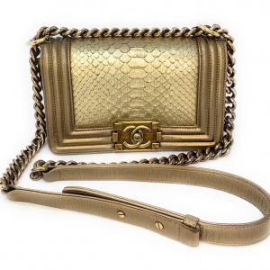 Chanel Metallic Gold Python Boy Small Flap Bag