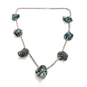 FABULOUS Vintage 7 Nugget Seafoam Turquoise & Heishi Bead Necklace