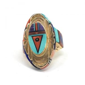 Native American Zuni Inlaid 14K Yellow Gold Multi-stone Ring