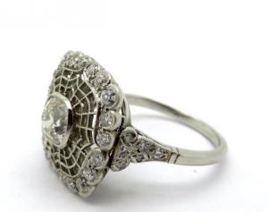 Platinum Diamond Edwardian Style Engagement Ring