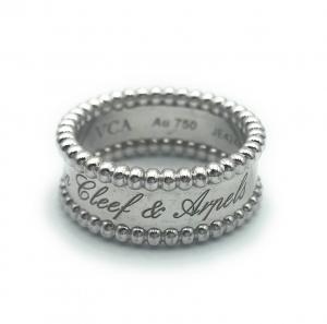 Van Cleef & Arpels 18k White Gold Perlee Signature Ring