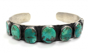 Vintage 1960's Navajo Sterling Silver & Candelaria Turquoise Cuff Bracelet