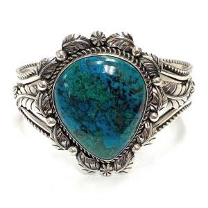 Vintage Navajo Sterling Silver & Peruvian Chrysocolla Cuff Bracelet - Signed