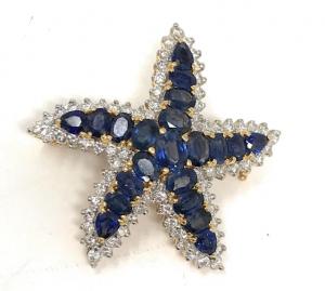 18K Yellow Gold Diamond and Blue Sapphire Starfish Brooch