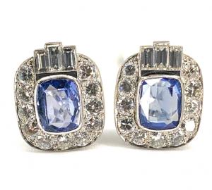 Vintage Estate Platinum 2.30ctw Diamond & 3.00ctw Sapphire Earrings - Clip On