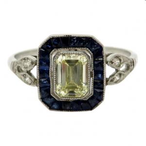 Platinum Art Deco Emerald cut ring