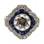 Platinum Art Deco Old European cut ring